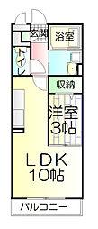 埼玉県草加市中根3丁目の賃貸アパートの間取り