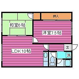 北海道札幌市北区篠路三条7丁目の賃貸アパートの間取り