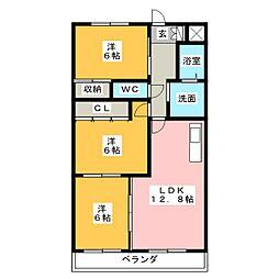 ラ・フィーネ1[3階]の間取り