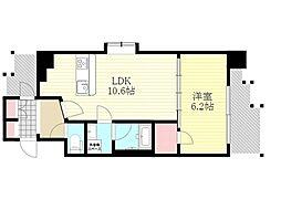 スプランディッド新大阪5 5階1LDKの間取り