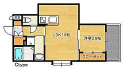 福岡市地下鉄空港線 博多駅 徒歩15分の賃貸マンション 2階1LDKの間取り