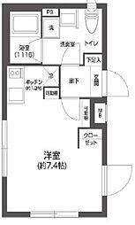 都営新宿線 菊川駅 徒歩6分の賃貸マンション 4階ワンルームの間取り