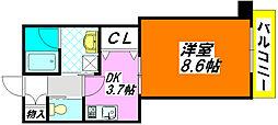 エバーグリーン・長田303号室[3階]の間取り