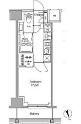 JR中央線 飯田橋駅 徒歩4分の賃貸マンション 8階1Kの間取り