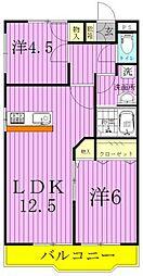 埼玉県八潮市中央2丁目の賃貸アパートの間取り