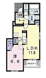 泉北高速鉄道 和泉中央駅 徒歩20分の賃貸アパート 1階1LDKの間取り