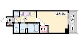 エスリード神戸ハーバーテラス 8階1Kの間取り