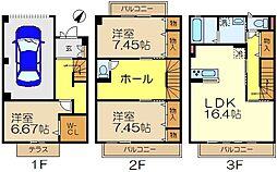 [テラスハウス] 神奈川県横浜市栄区笠間3丁目 の賃貸【/】の間取り