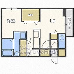 札幌市営東豊線 福住駅 徒歩8分の賃貸マンション 4階1LDKの間取り