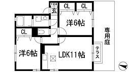 兵庫県川西市見野3丁目の賃貸アパートの間取り