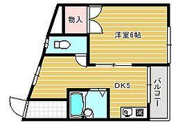 大阪府茨木市南安威3丁目の賃貸マンションの間取り