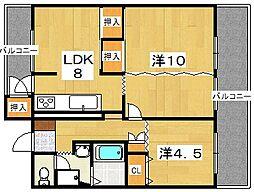 男山第4住宅314棟[5階]の間取り