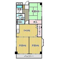 愛知県名古屋市中川区大当郎2丁目の賃貸アパートの間取り