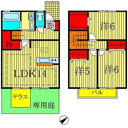 [テラスハウス] 千葉県柏市大島田 の賃貸【/】の間取り