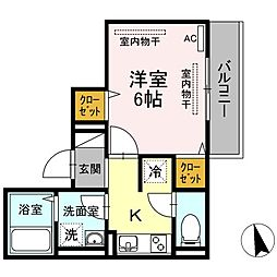 JR山陽本線 東福山駅 3.6kmの賃貸アパート 2階1Kの間取り