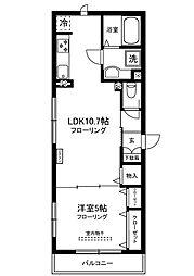 クレールIDA2 2階1LDKの間取り