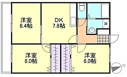 プレミアムコート1号館[2階]の間取り