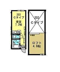 神奈川県横浜市神奈川区松ケ丘の賃貸アパートの間取り