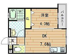 シティコート徳庵 2階1DKの間取り