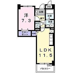JR阪和線 北信太駅 徒歩16分の賃貸マンション 2階1LDKの間取り