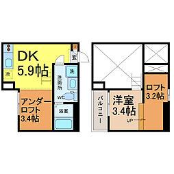 愛知県名古屋市南区本地通3丁目の賃貸アパートの間取り
