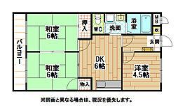 福岡県北九州市八幡西区青山2丁目の賃貸マンションの間取り