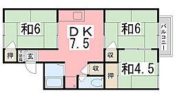 メゾン釜池 A棟[201号室]の間取り