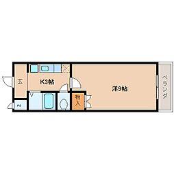 JR関西本線 王寺駅 バス7分 中山台2丁目下車 徒歩3分の賃貸マンション 5階1Kの間取り