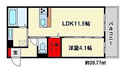 福岡県大野城市東大利1丁目の賃貸アパートの間取り