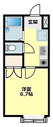 愛知県岡崎市羽根町字小豆坂の賃貸アパートの間取り