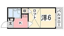 兵庫県姫路市伊伝居の賃貸アパートの間取り