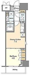 東京メトロ有楽町線 江戸川橋駅 徒歩7分の賃貸マンション 5階1DKの間取り