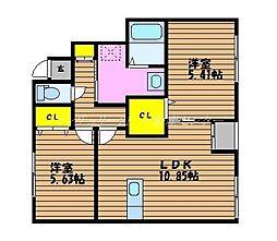 JR山陽本線 岡山駅 バス35分 福吉町下車 徒歩2分の賃貸アパート 1階2LDKの間取り