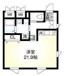 仮)翠川ビル 3階ワンルームの間取り