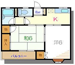 都営新宿線 篠崎駅 徒歩12分の賃貸アパート 2階2Kの間取り