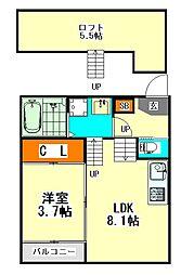 愛知県名古屋市中区橘1丁目の賃貸アパートの間取り