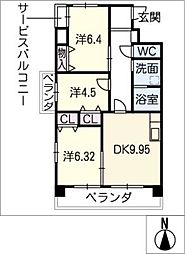 黄金マンション[5階]の間取り