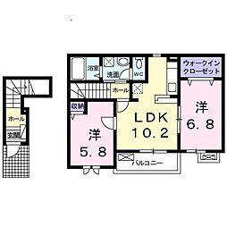 DK2[201号室]の間取り