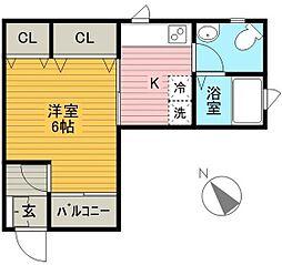 Hana House[102号室]の間取り