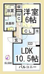 DL ウェルデンス東林間 [D-ROOM][1階]の間取り
