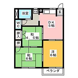 フォーブル二の岡B[2階]の間取り