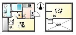 愛知県名古屋市中川区露橋1丁目の賃貸アパートの間取り
