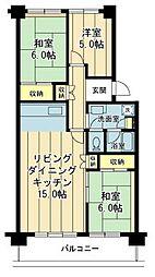 入船中央エステート 2階3LDKの間取り