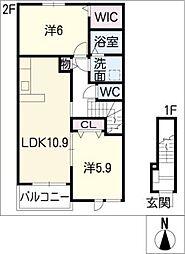 リスブランA棟[2階]の間取り