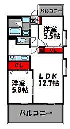 福岡県福岡市東区松田1丁目の賃貸マンションの間取り