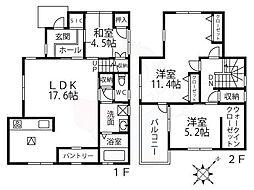 大阪モノレール本線 少路駅 徒歩12分の賃貸一戸建て 2階3LDKの間取り