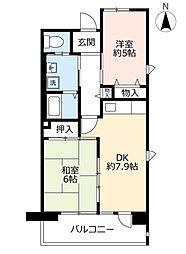 URシャレール東豊中 4階2DKの間取り