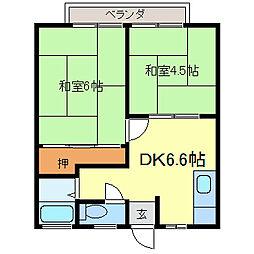 ハイツヤマザキ[202号室]の間取り