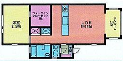 神奈川県相模原市南区南台6丁目の賃貸マンションの間取り