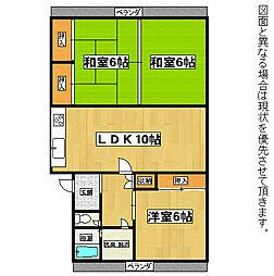 福岡県北九州市若松区高須西2丁目の賃貸マンションの間取り